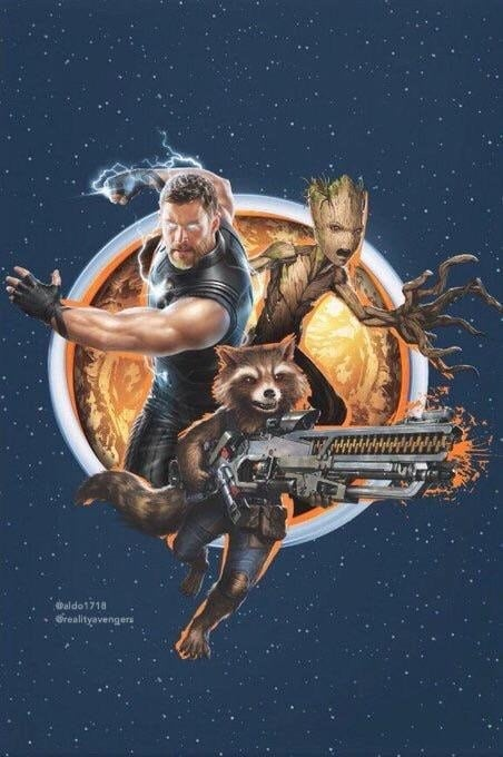 Avengers Infinity War Poster Fan-Made Poster (Thor, Groot, and Rocket)