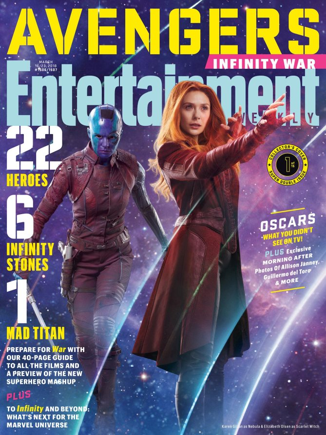 Avengers Infinity War Poster by Entertainment Weekly Nebula and Scarlet Witch