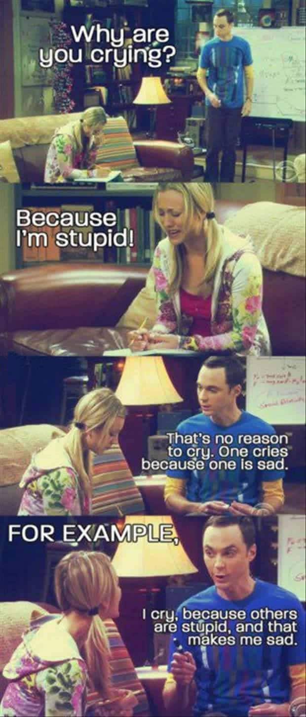 Big bang theory Penny crying meme poster