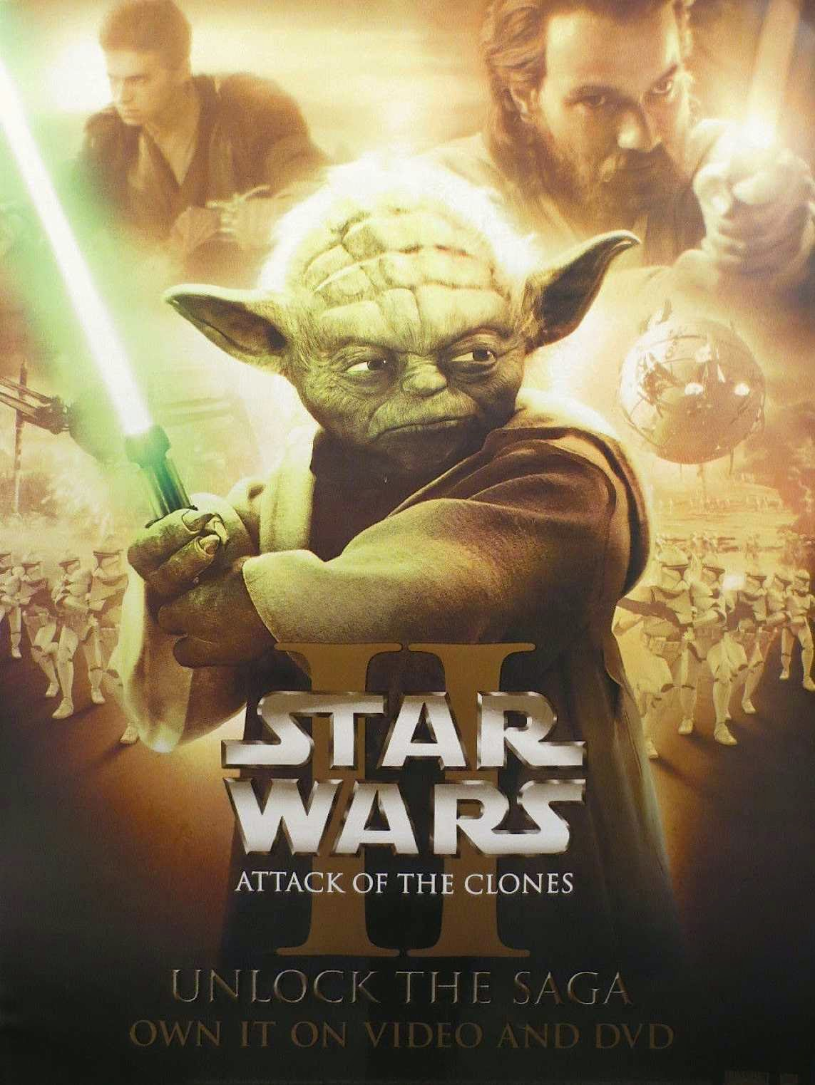 star wars the attack of the clones 2002 hd printable poster wallpaper yoda art animated cartoon poster