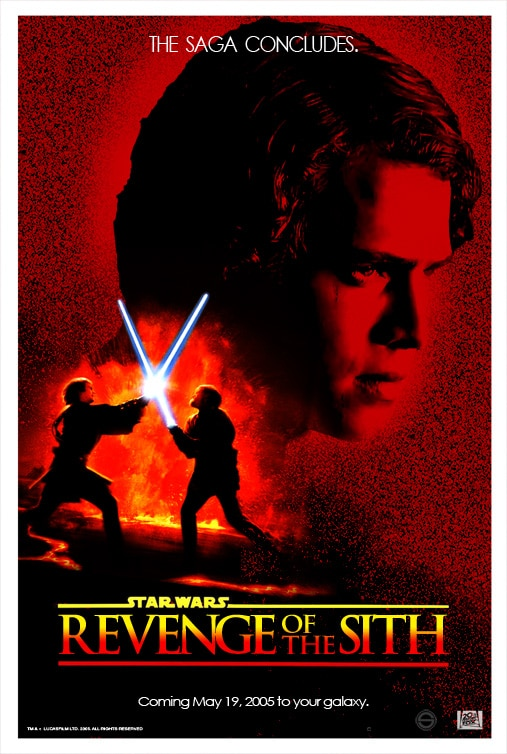 star wars revenge of th sith hd printable poster wallpaper red fight scene
