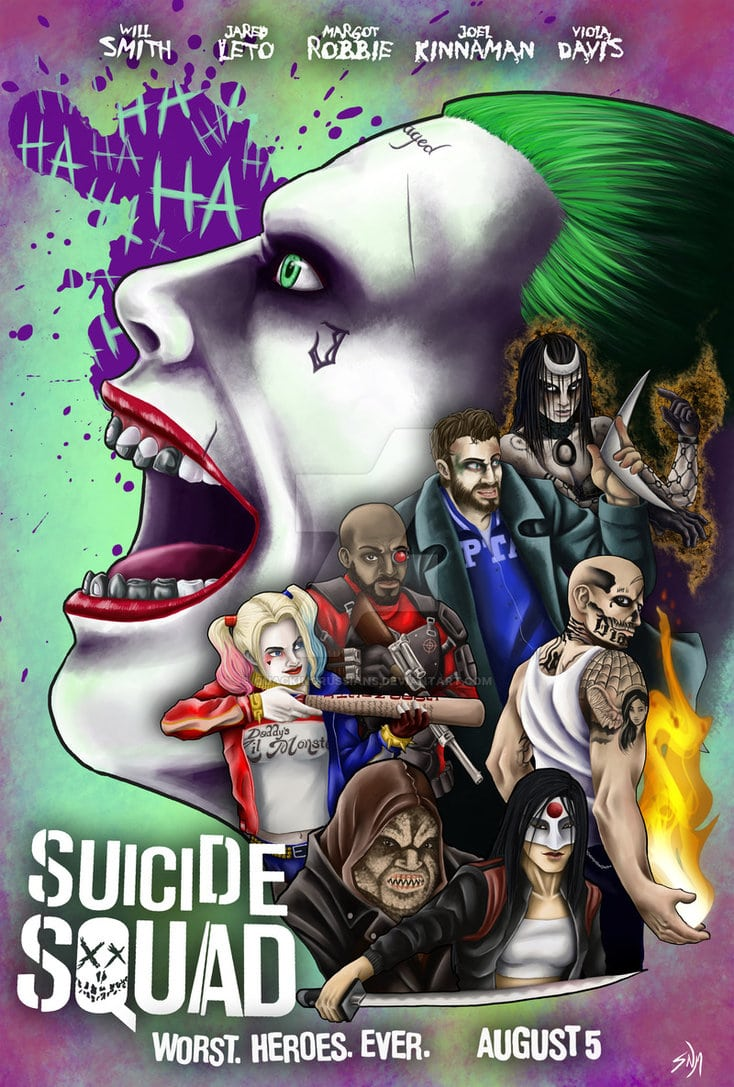 suicide squad hd printable Poster wallpaper all characters cartoon animated art