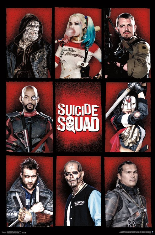 suicide squad hd printable Poster wallpaper all characters individual poster chart