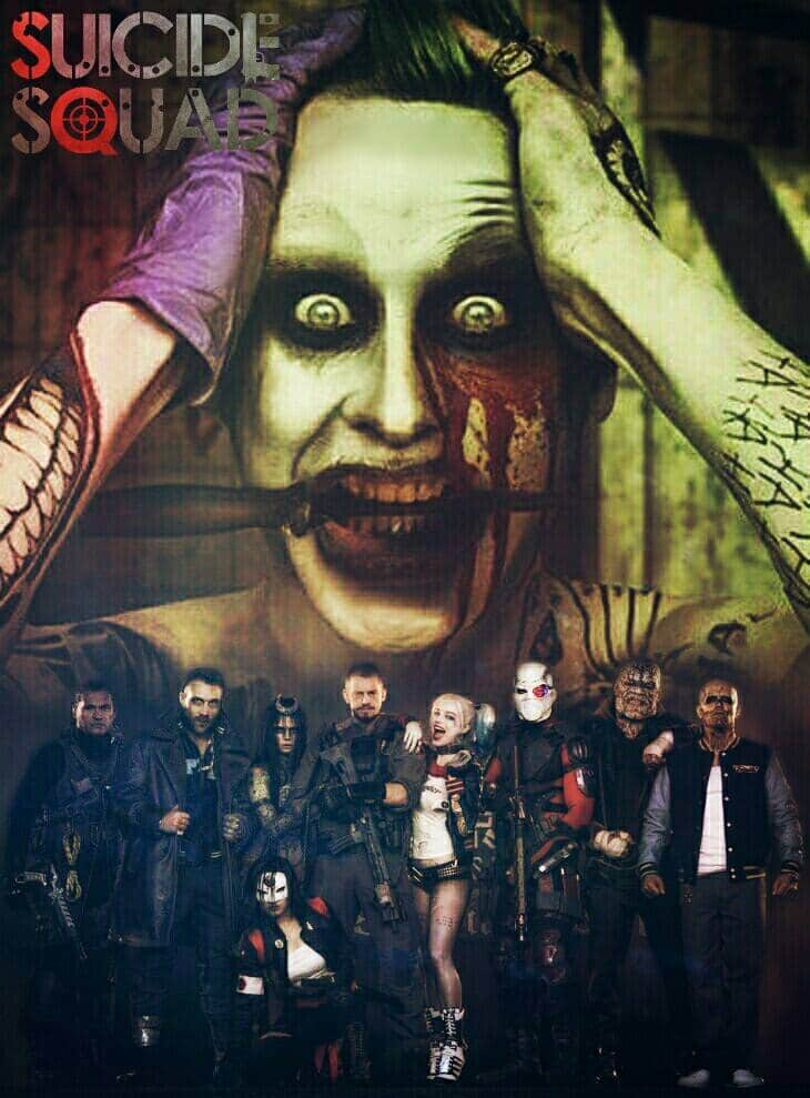suicide squad hd printable Poster wallpaper joker oriented movie poster black dark all characters
