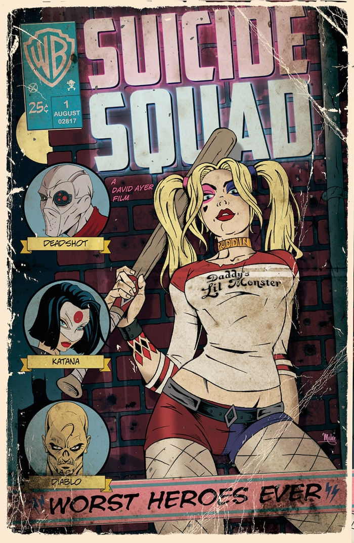 suicide squad hd printable Poster wallpaper harley quinn full team in comics cover page
