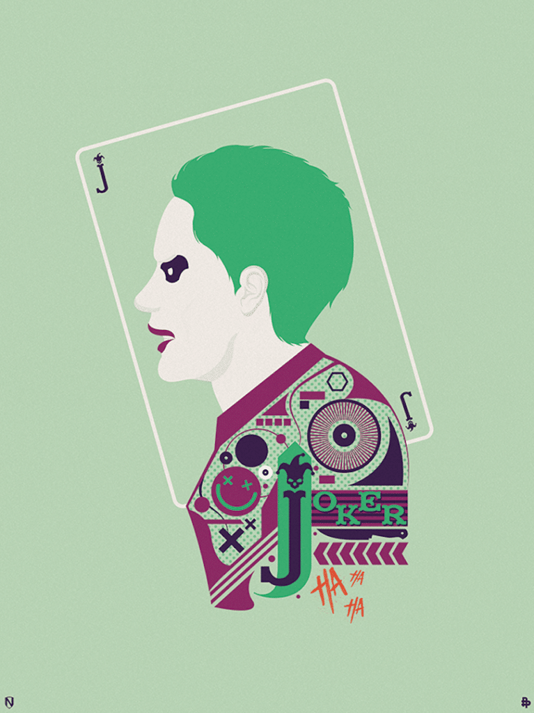 suicide squad hd printable Poster wallpaper joker card style green animated cartoon art