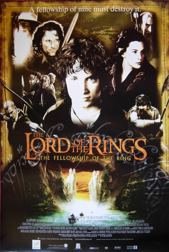 the lord of the rings 1 2001 the fellowship of the ring all characters old style poster hobbit gandalf