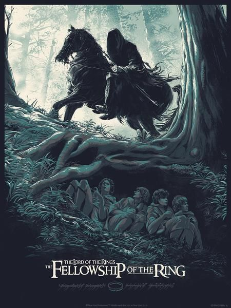 the lord of the rings 1 2001 the fellowship of the ring high quality HD printable poster black villain suron hobbits under tree