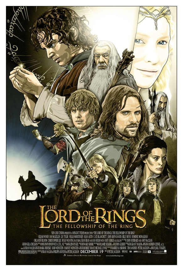 the lord of the rings 1 2001 the fellowship of the ring high quality HD printable poster animated cartoon art all characters