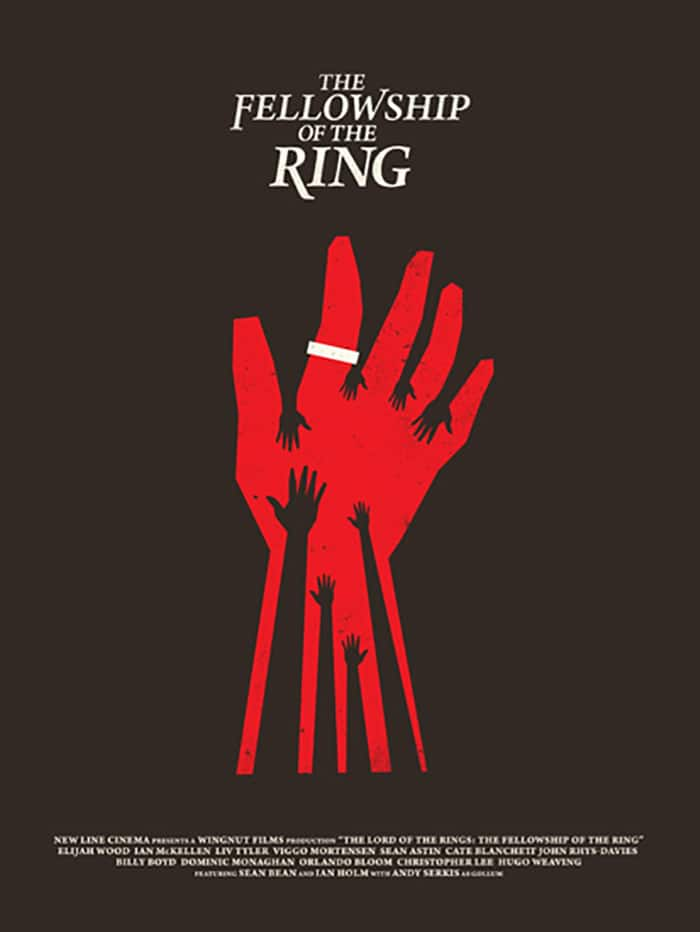 the lord of the rings 1 2001 the fellowship of the ring high quality HD printable poster all hands red and black poster ring