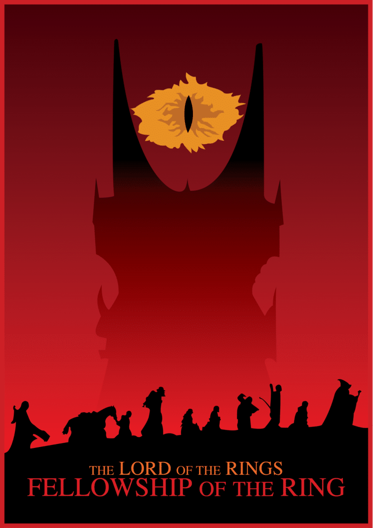 the lord of the rings 1 2001 the fellowship of the ring high quality HD printable poster cartoon animated art eye of suaron red posters