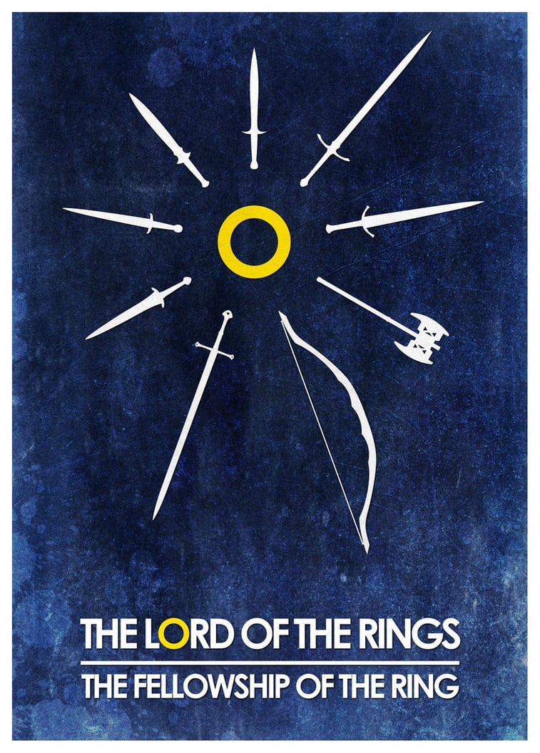 the lord of the rings 1 2001 the fellowship of the ring high quality HD printable poster cartoon animated art all swords tools bow blue poster