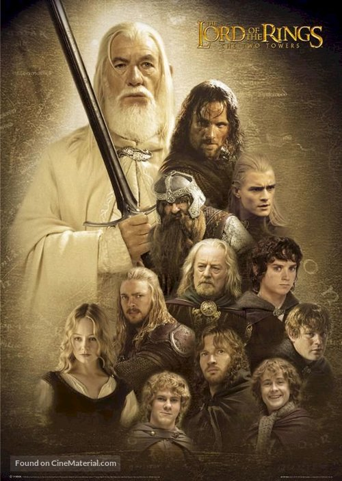 the lord of the rings poster part 1 2002 the two towers high quality HD printable all characters hobbits warriors