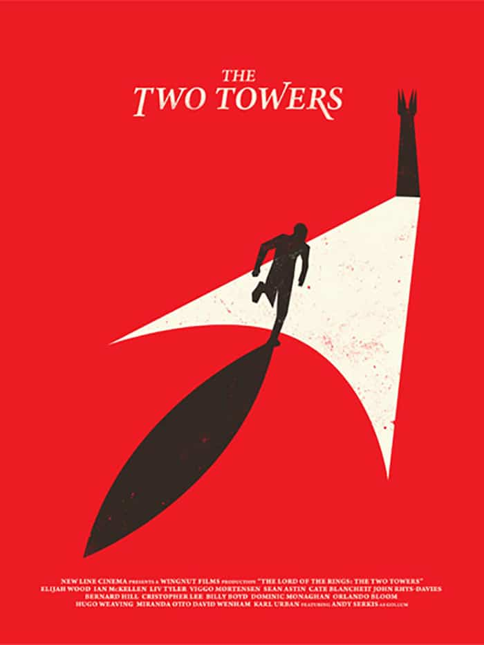 the lord of the rings poster part 1 2002 the two towers high quality HD printable red black towers animated cartoon art