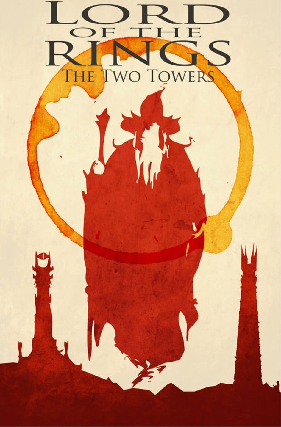 the lord of the rings 1 2002 the two towers high quality HD printable poster animated gandalf red and white art cartoon