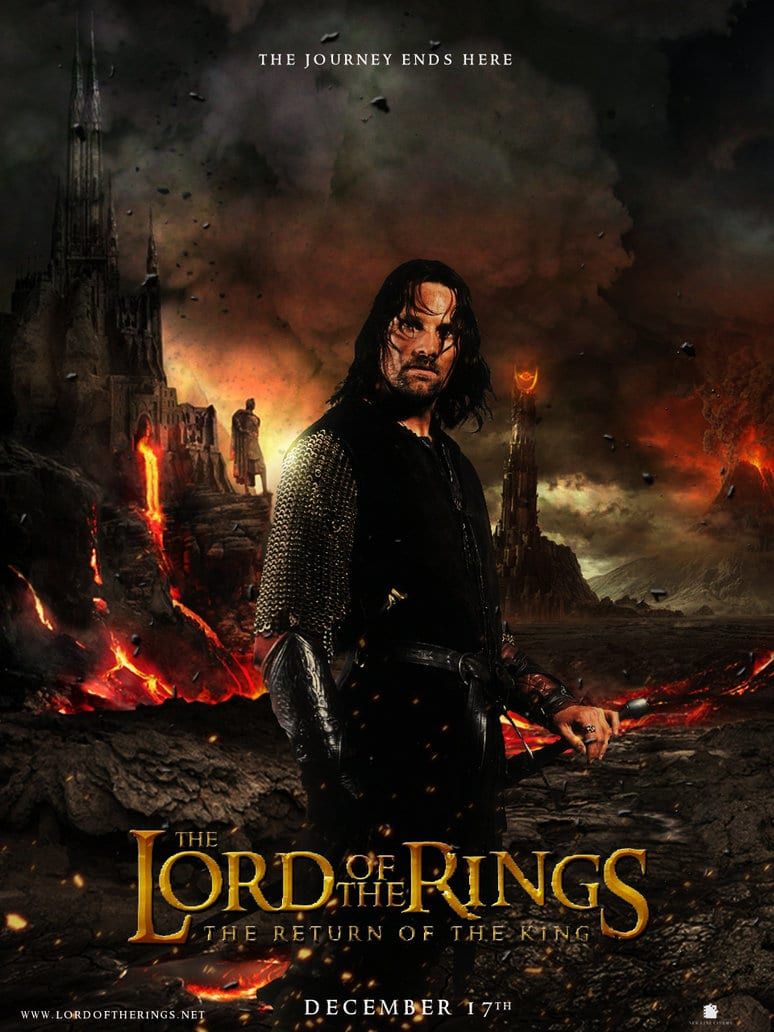 the lord of the rings poster part 3 2003 the return of the king high quality HD printable wallpapers the journey ends here aragorn lava mount doom