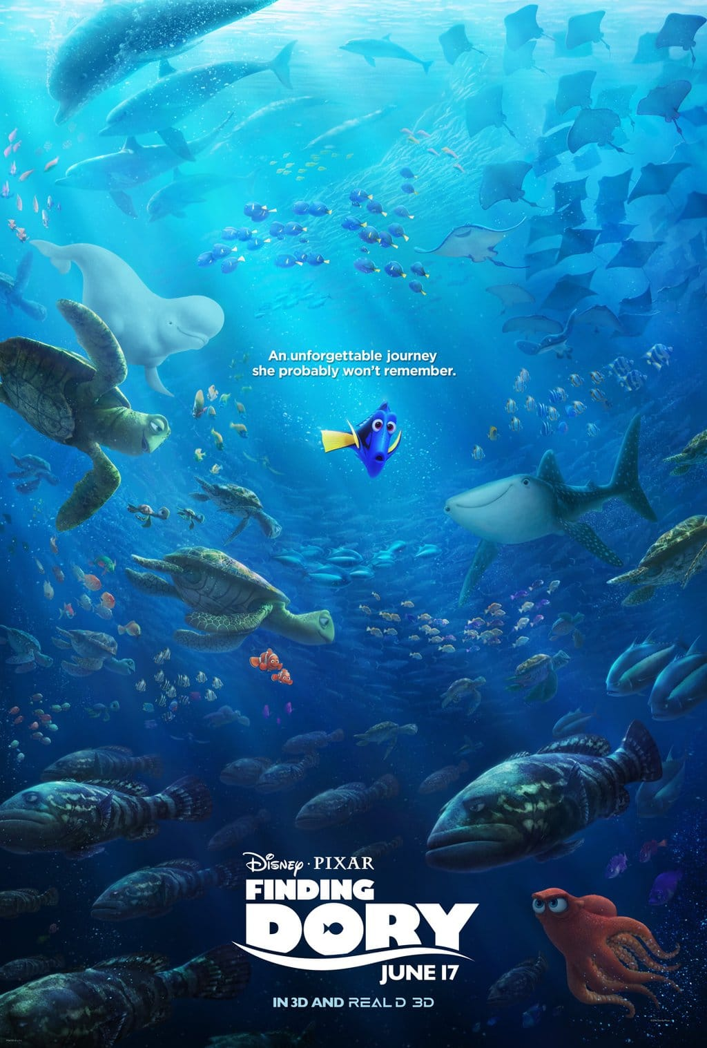 finding dory high quality HD printable wallpapers poster official poster all fishes shark whale turtle pixer universe