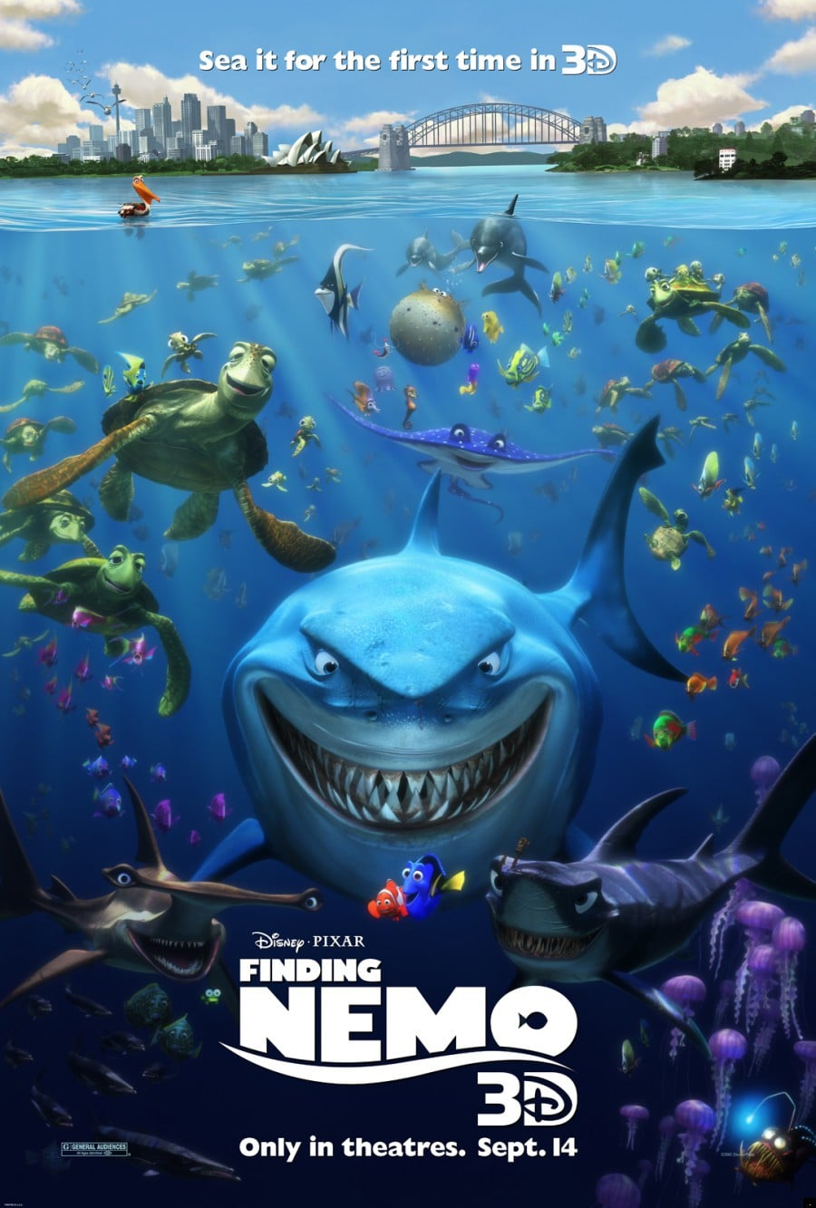 finding nemo poster high quality HD printable wallpapers official poster shark bruce turtle dude crush all characters