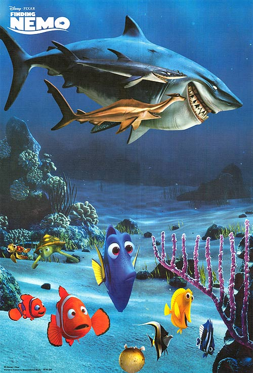 finding nemo poster high quality HD printable wallpapers all characters ending scene shark bruce