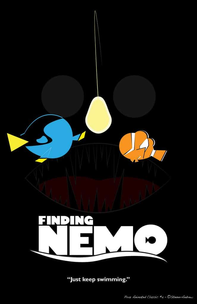 finding nemo poster high quality HD printable wallpapers art marlin adnd dory anglerfish with light