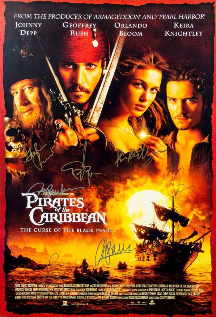 pirates of the caribbean poster high quality HD printable wallpapers autographed official poster jonny depp orlando bloom