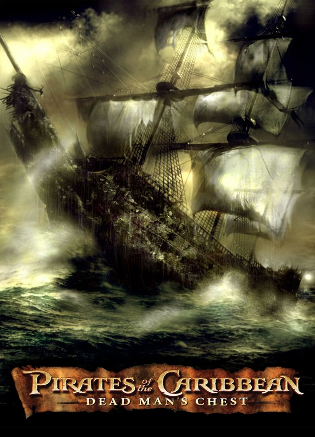 pirates of the caribbean poster dead man's chest high quality HD printable wallpapers black pearl in rain storm