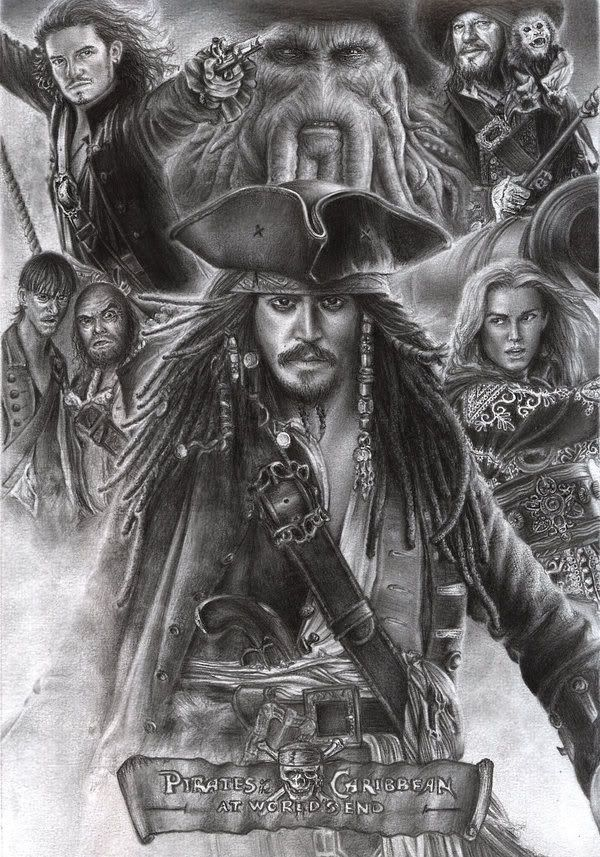 pirates of the caribbean poster at world's end high quality HD printable wallpapers official poster sketch white and black