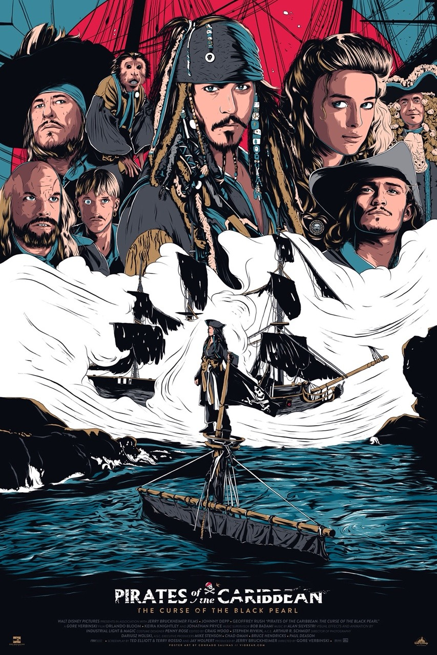 pirates of the caribbean poster the curse of black pearl high quality HD printable wallpapers art animated cartoon all characeters