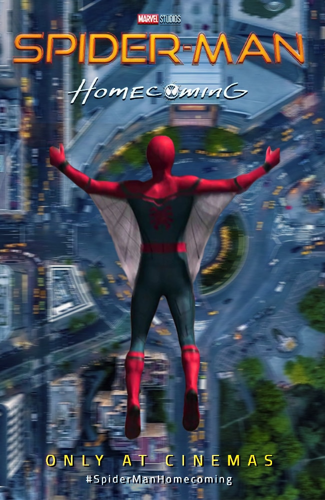 spiderman homecoming poster high quality HD printable wallpapers spider wings flying in the new york city