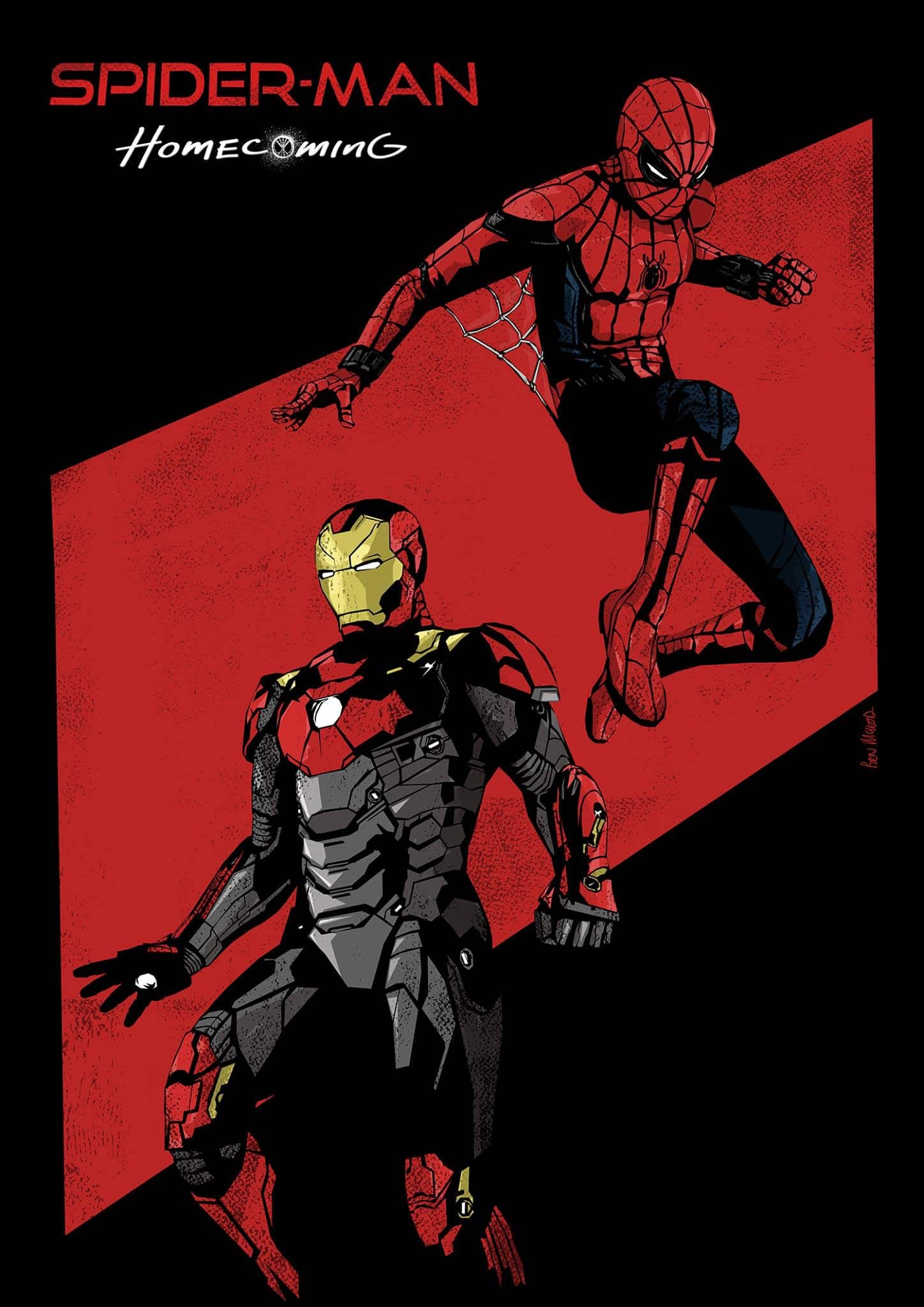 spiderman homecoming poster high quality HD printable wallpapers iron man and spiderman art animation cartoon