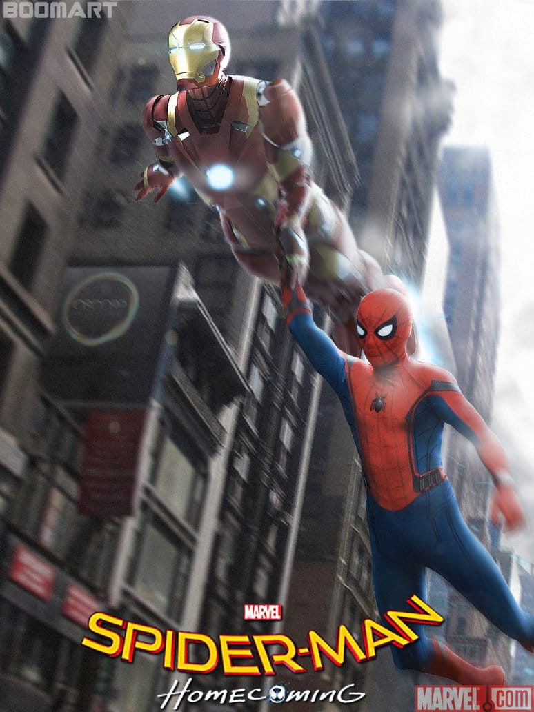 spiderman homecoming poster high quality HD printable wallpapers iron man helping spiderman as father tony stark peter parker