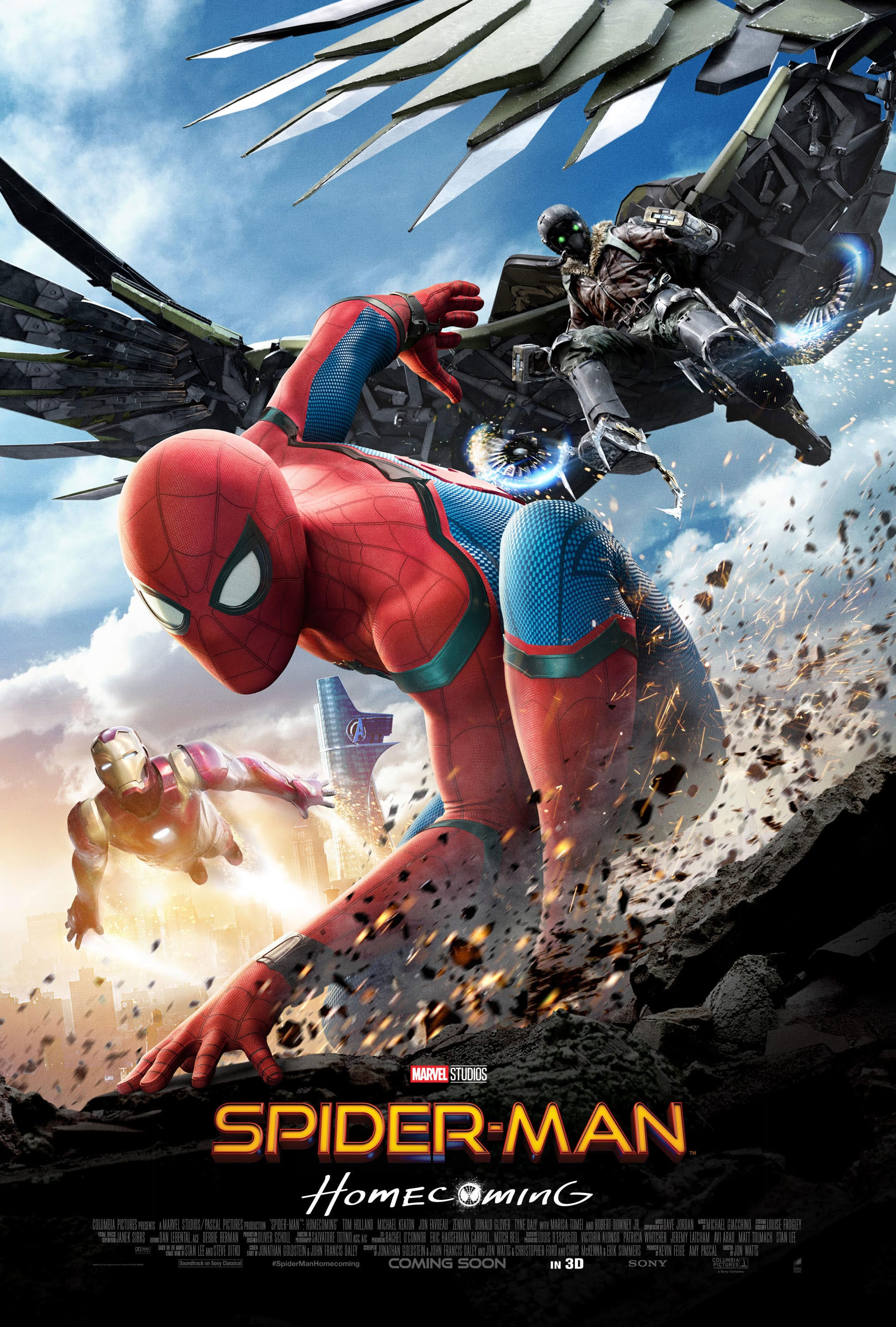 spiderman homecoming poster high quality HD printable wallpapers spiderman and iron man fighting vulture
