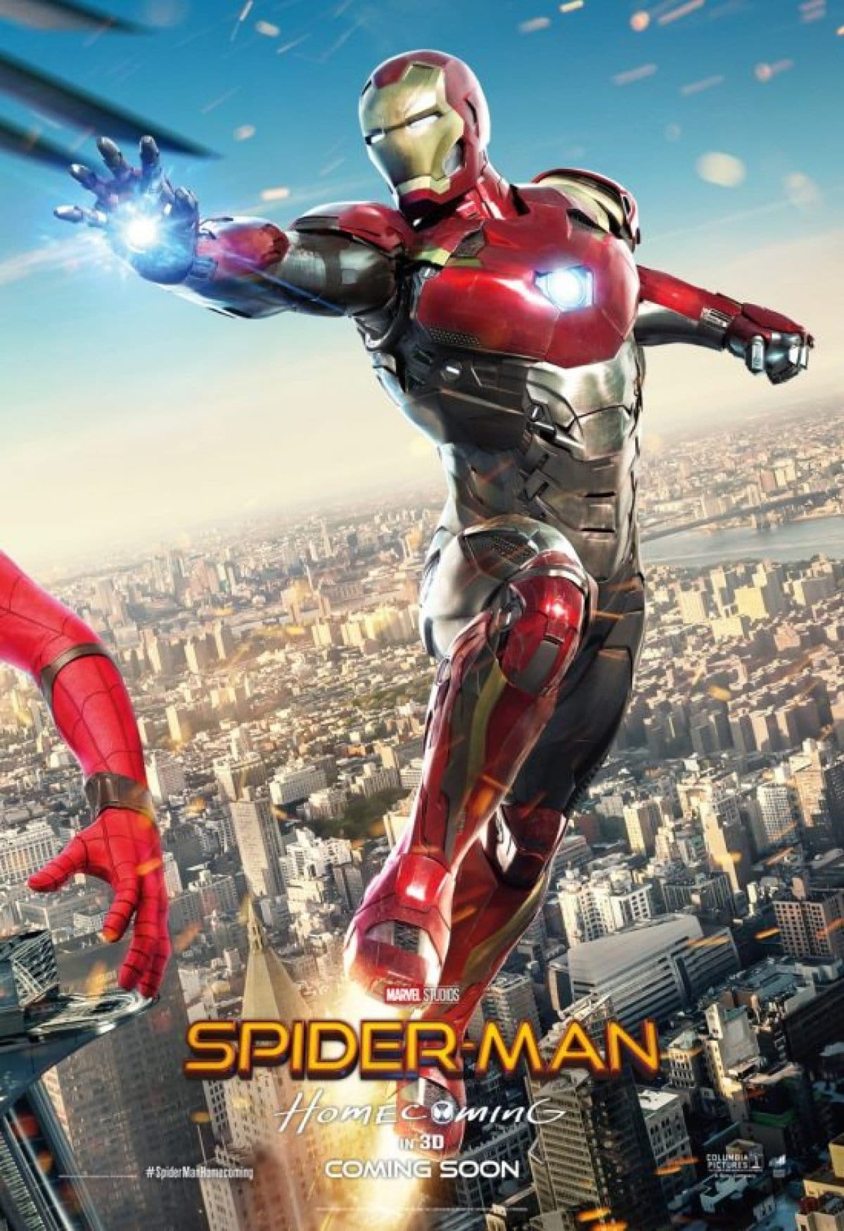 spiderman homecoming poster high quality HD printable wallpapers iron man in spiderman action fighting