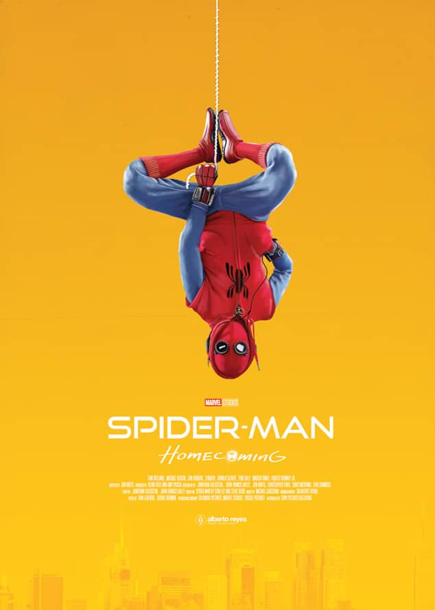 spiderman homecoming poster high quality HD printable wallpapers yellow homemade spiderman suit peter parker hanging upside down
