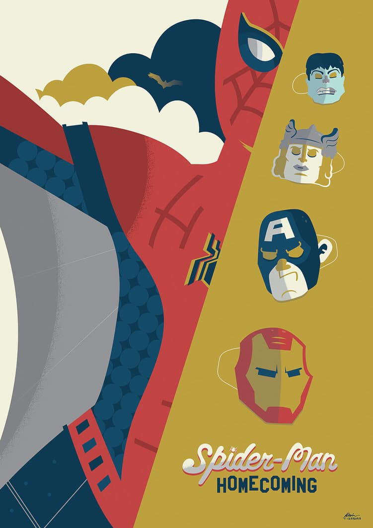 spiderman homecoming poster high quality HD printable wallpapers animated art cartoon thor captain america iron man spiderman all together