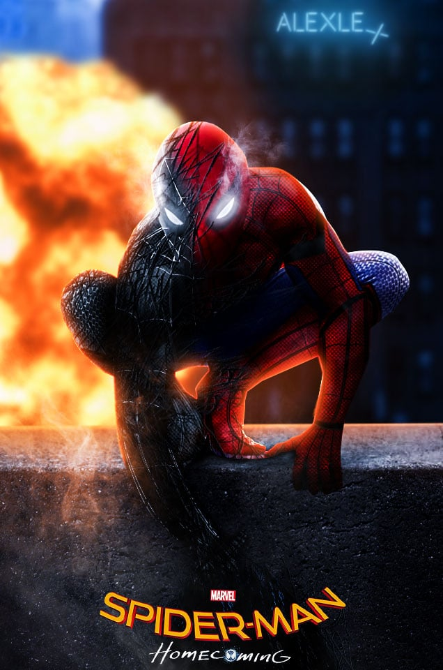 homecoming spiderman poster high quality HD printable wallpapers scary spiderman with the shades of venom