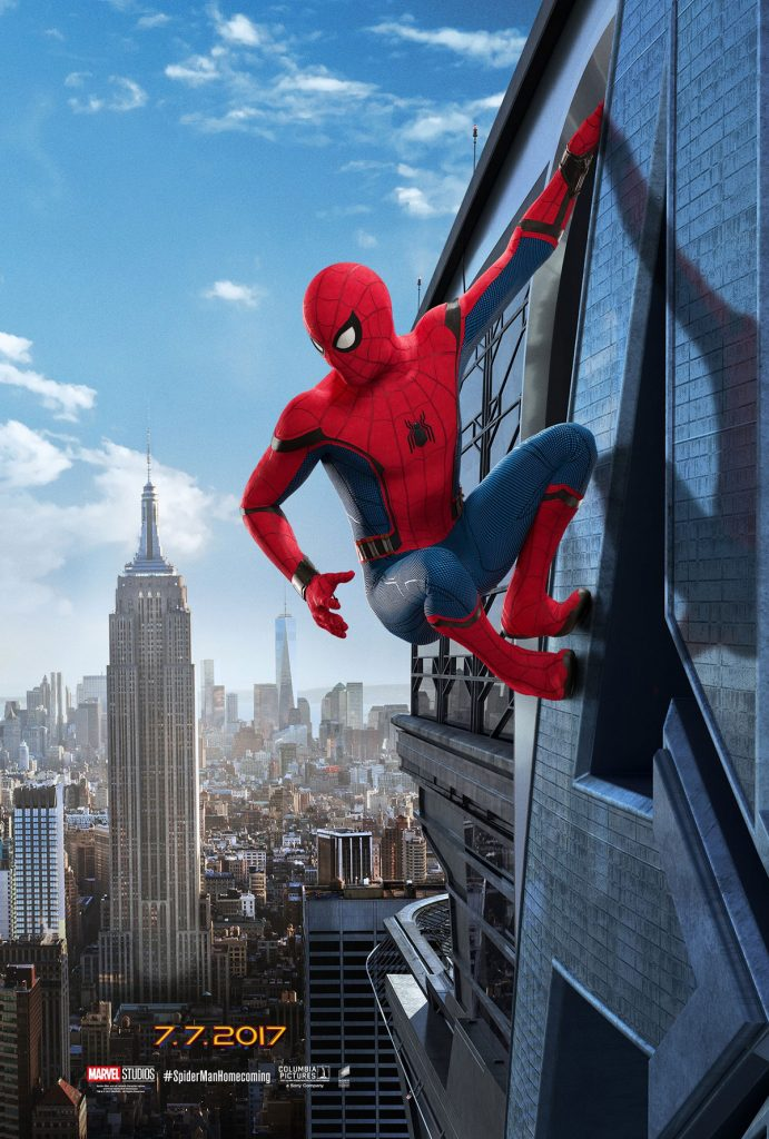 spiderman homecoming poster high quality HD printable wallpapers on the high buildings walls of new york