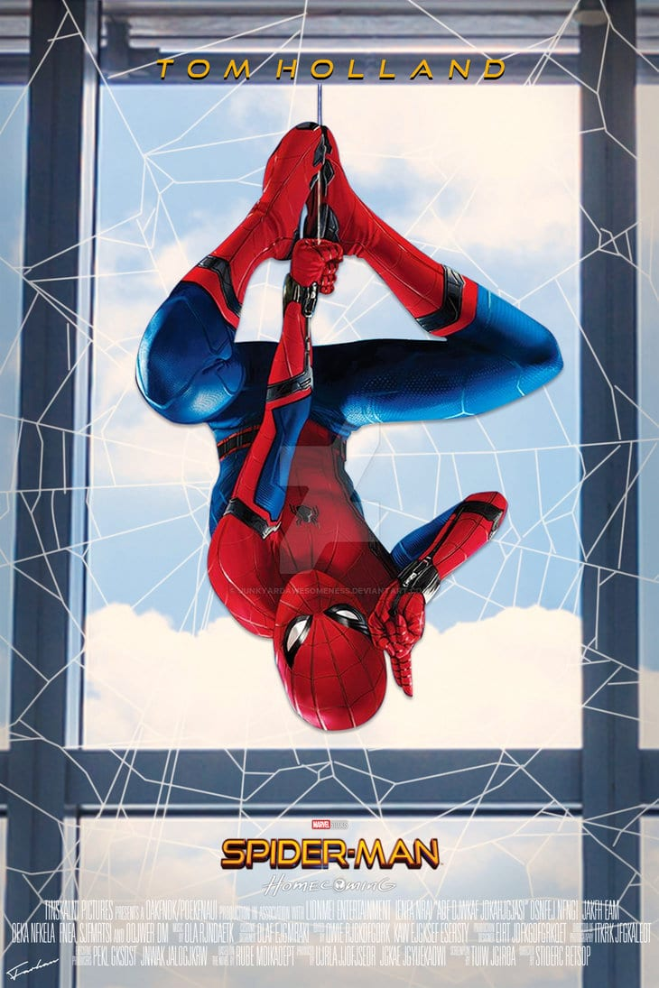spiderman homecoming poster high quality HD printable wallpapers hanging upside down spiderman pose