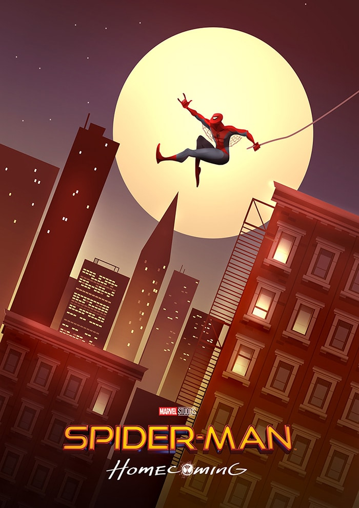 spiderman homecoming poster high quality HD printable wallpapers friendly spiderman at night