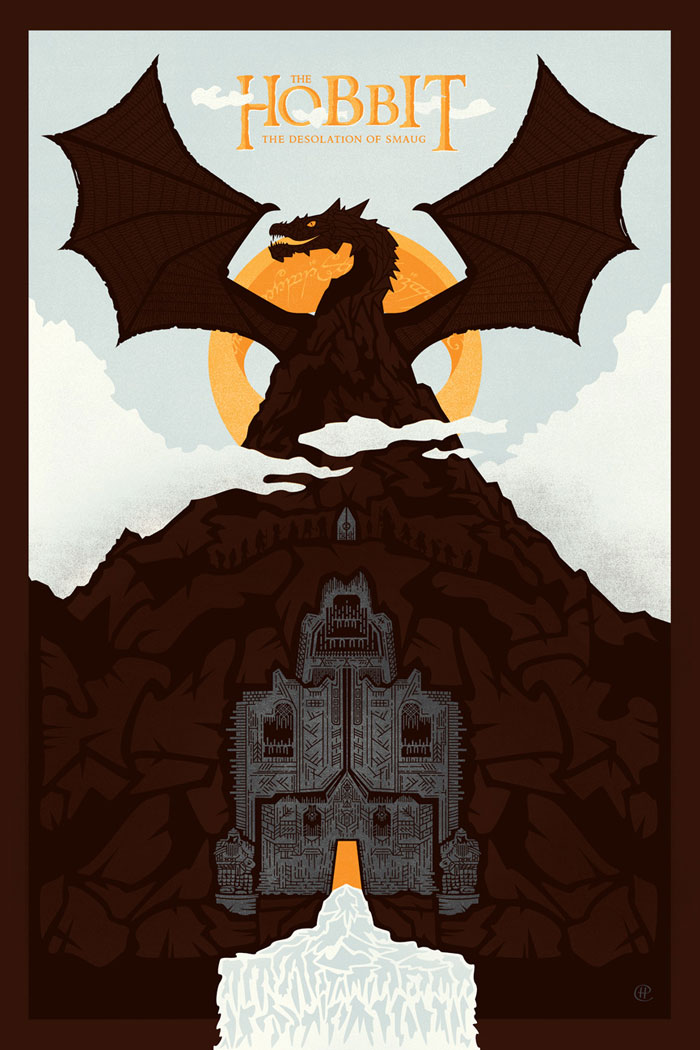 the hobbit the desolation of smaug 2013 high quality HD printable wallpapers poster art cartoon animated smaug the dragon outside lonely mountain