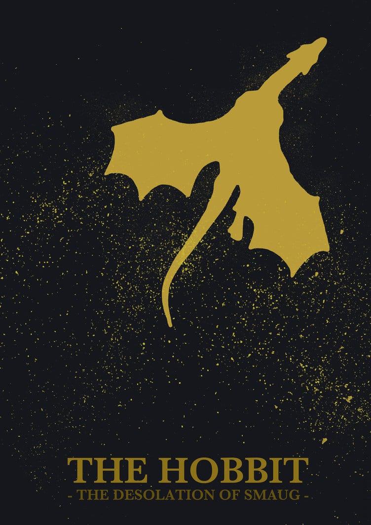 the hobbit the desolation of smaug 2013 high quality HD printable wallpapers poster golden smaug dragon