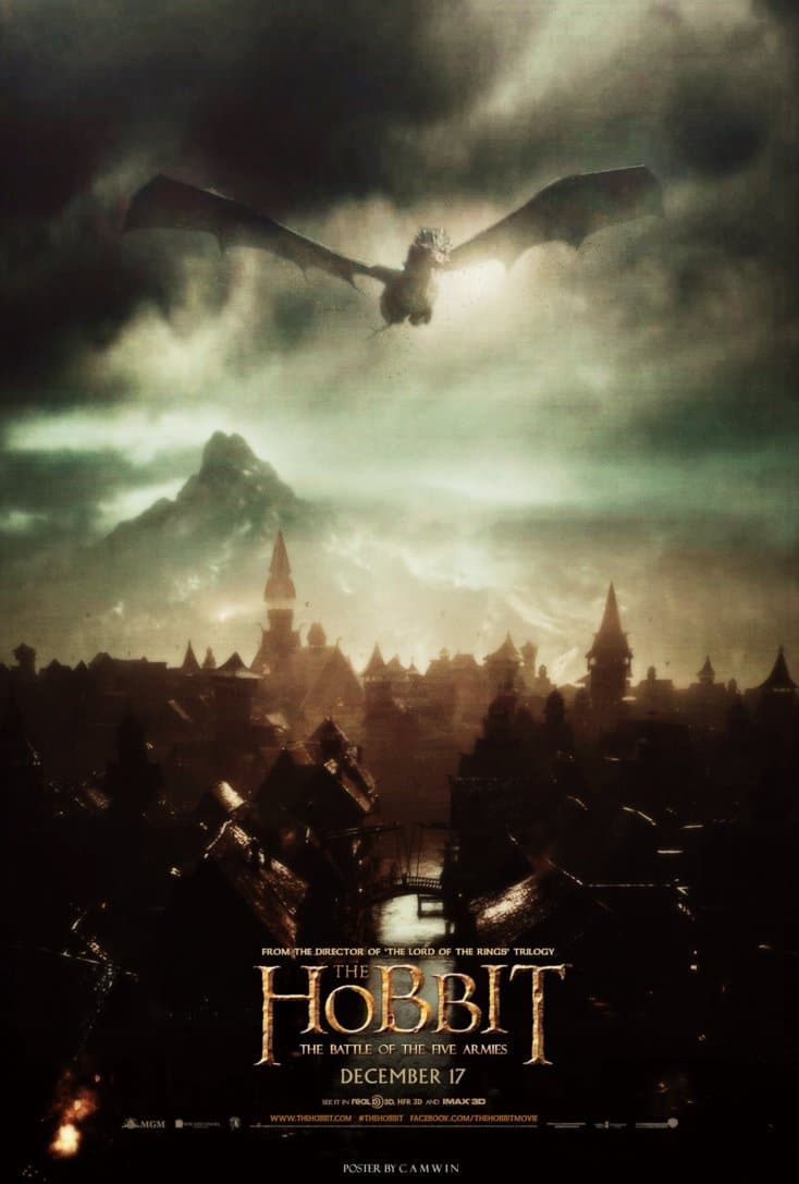 the hobbit the battle of five armies 2014 high quality HD printable wallpapers poster dragon smaug going to lake town