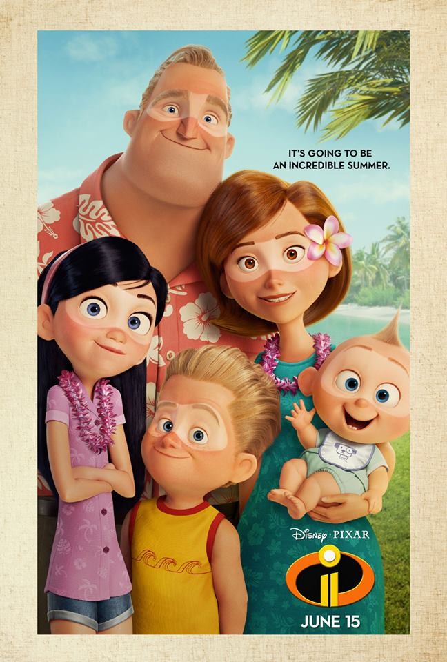 the incredibles 2 poster high quality HD printable wallpapers family on holiday tanning on beach