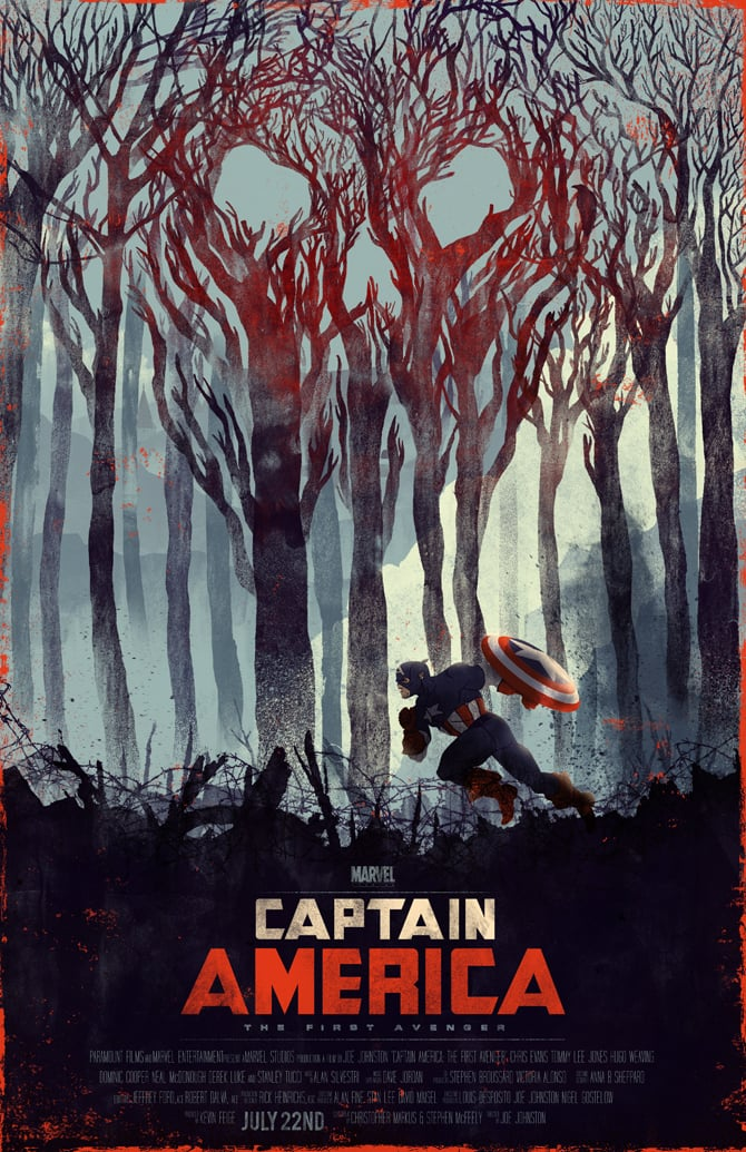 captain america poster high quality HD printable wallpapers forest scene red skull