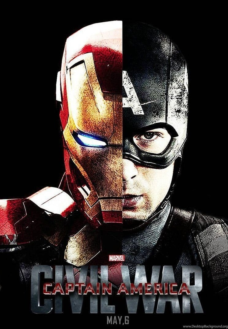 captain america poster high quality HD printable wallpapers 2016 civil war half face captain america and iron man