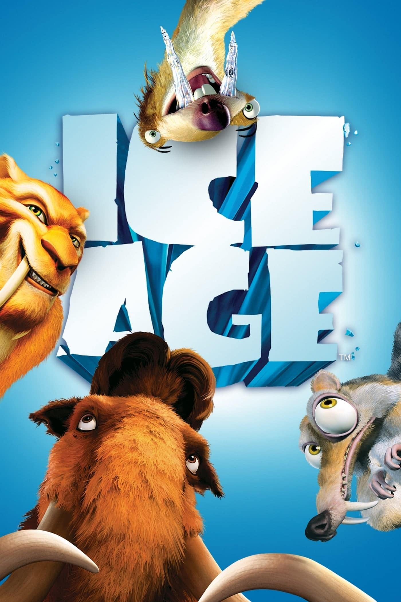 ice age poster part 1 2002 high quality HD printable wallpapers all characters manny diego sid and scrat