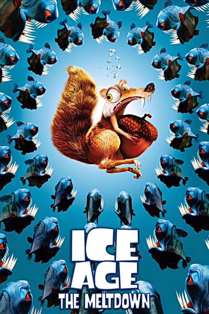 ice age poster part 2 2006 high quality HD printable wallpapers scrat surrounded by pirhana