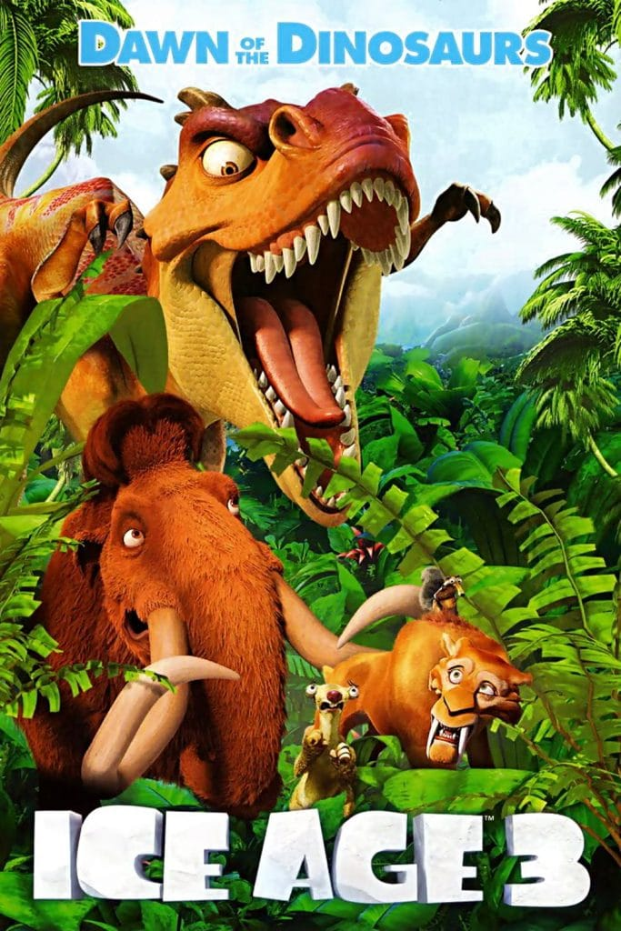 ice age poster part 3 2009 dawn of dinosuars high quality HD printable wallpapers all main characetrs diego and manny