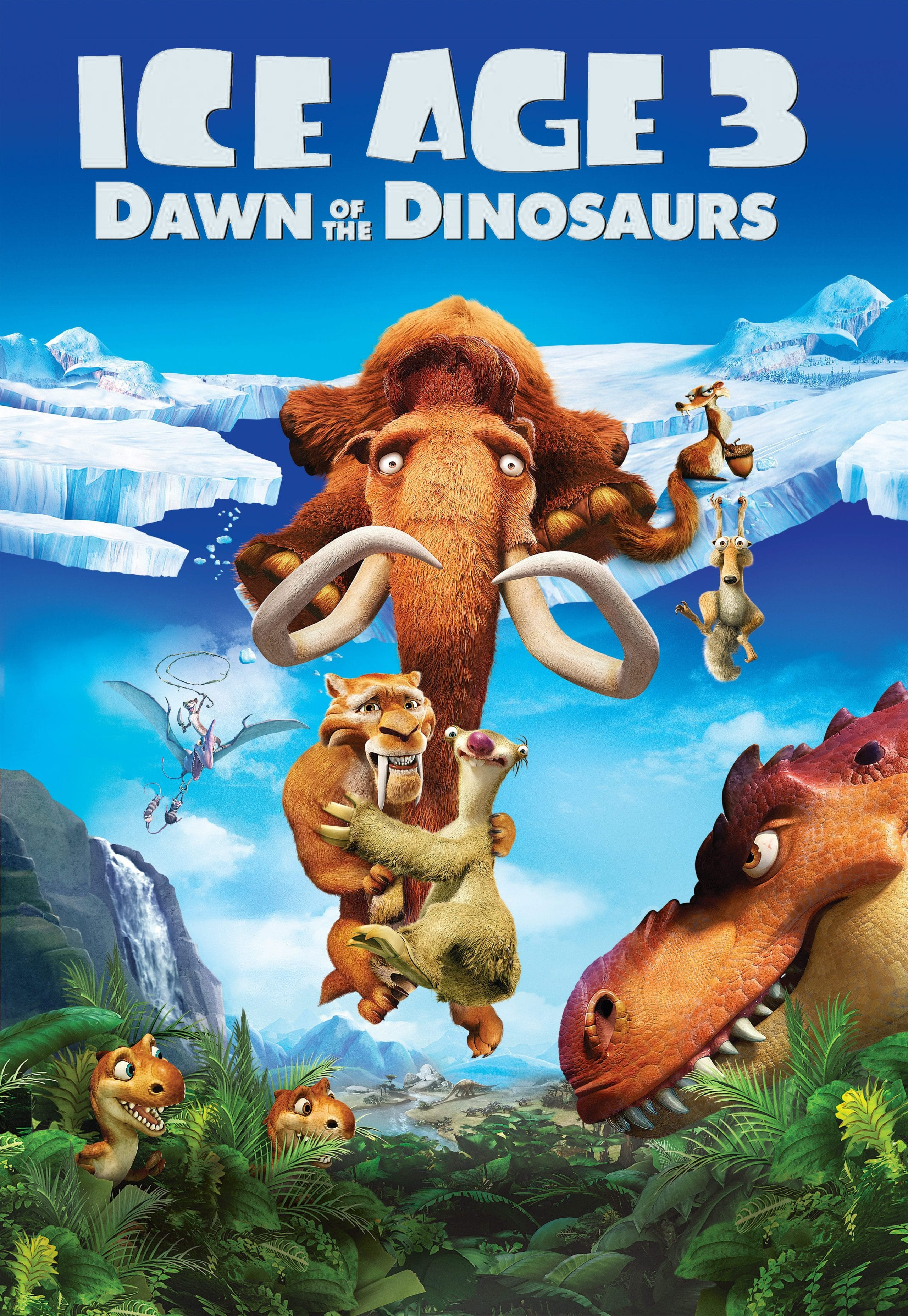ice age poster part 3 2009 dawn of dinosuars high quality HD printable wallpapers all characters