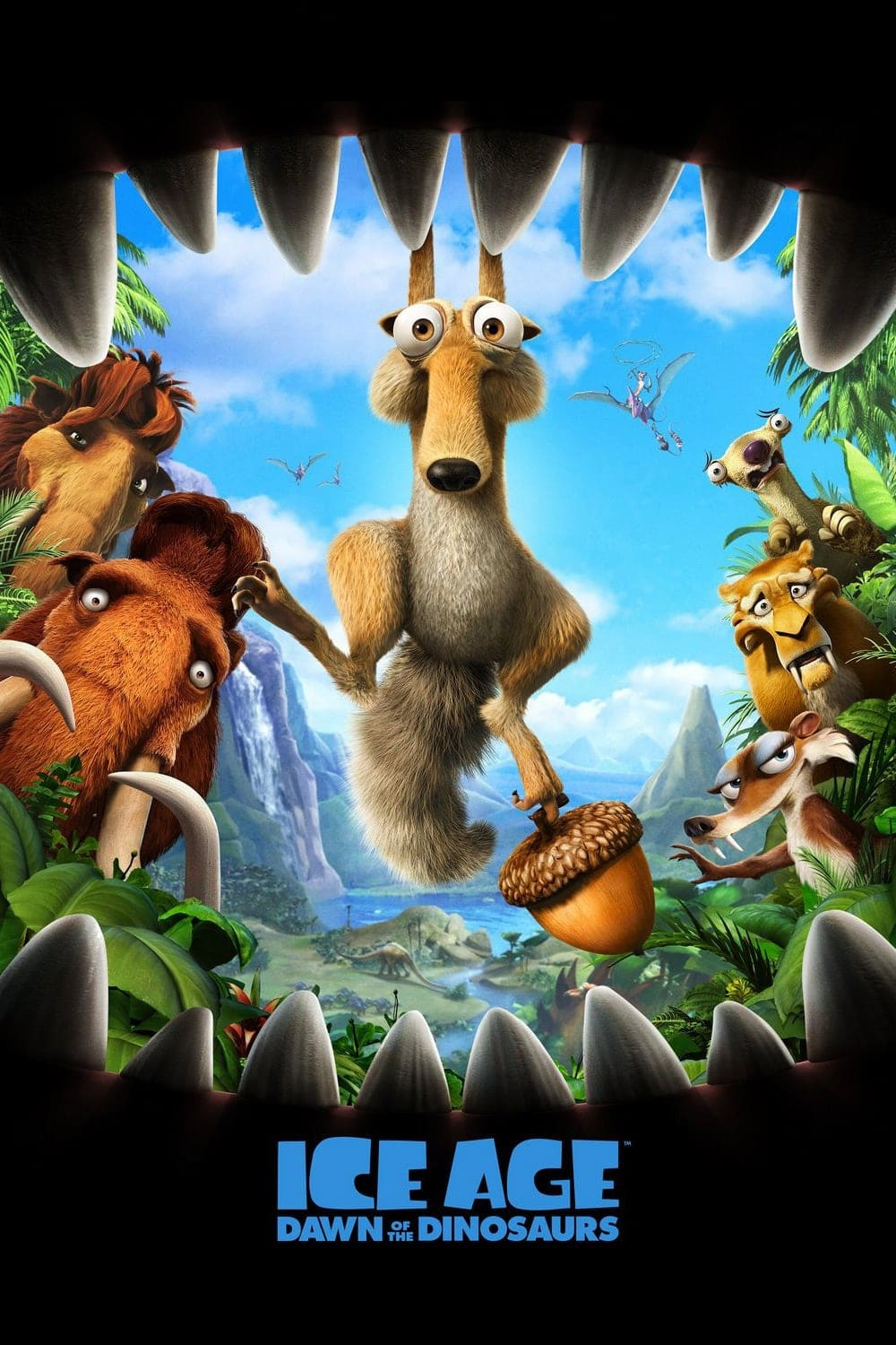 ice age poster part 3 2009 dawn of dinosuars high quality HD printable wallpapers scrat with acorn fighting to dinosaur